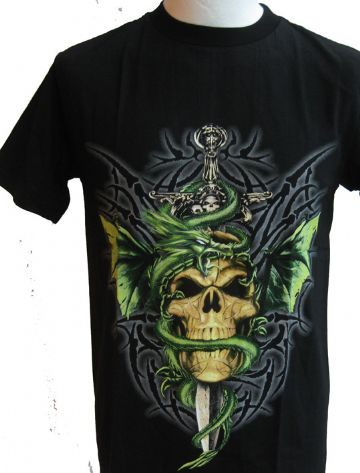 Skull, Sword And Dragon T Shirt With Large Back Print